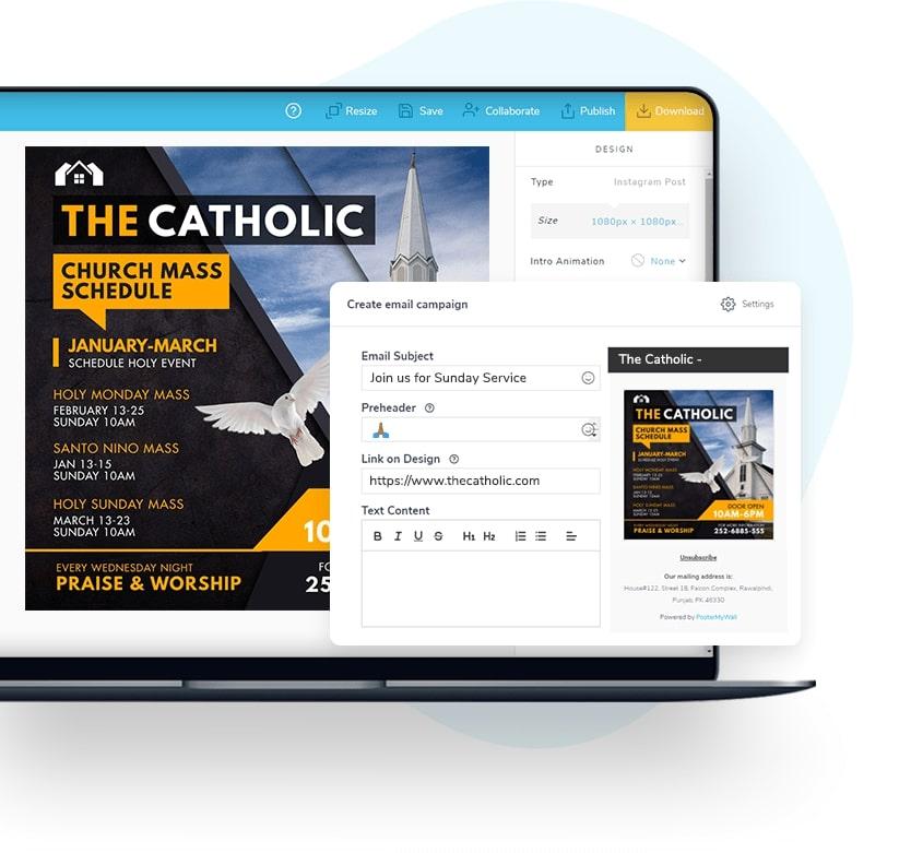 发送带有您的设计的电子邮件营销活动